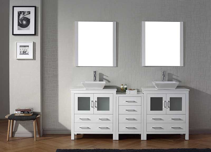 Virtu USA Dior 78 Double Bathroom Vanity Set in White