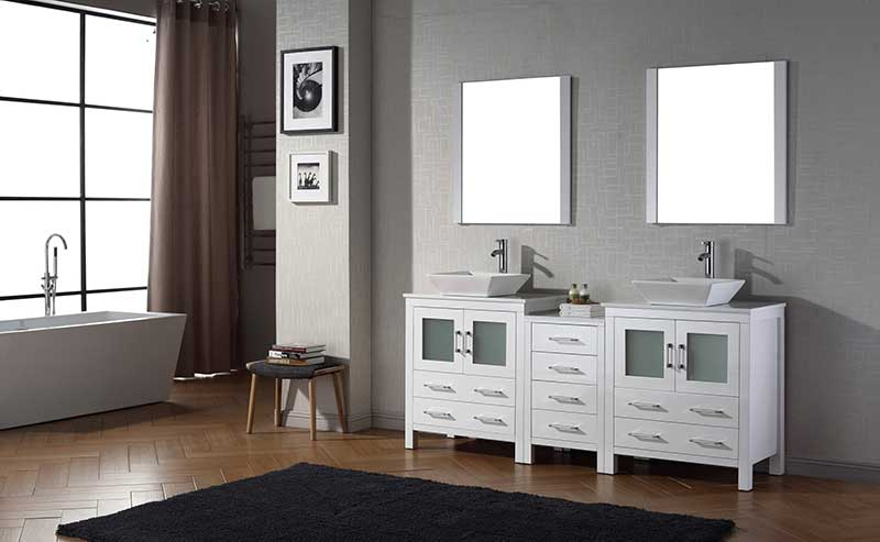 Virtu USA Dior 78 Double Bathroom Vanity Set in White 2