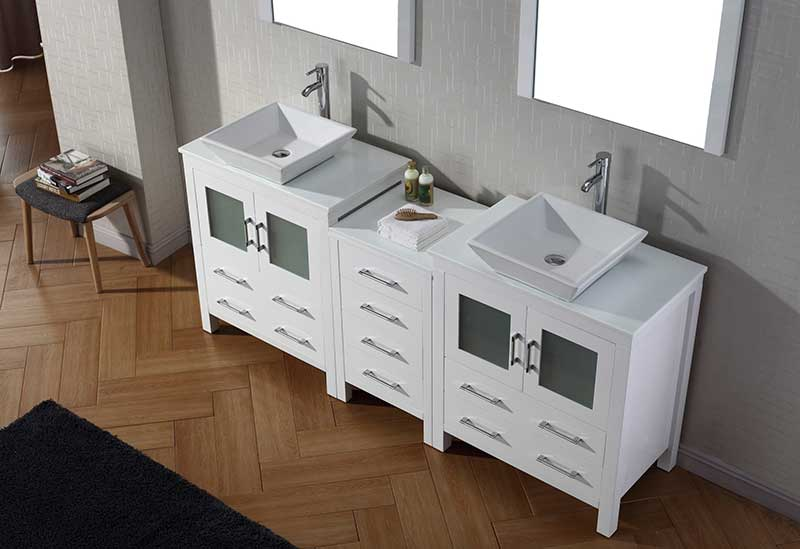 Virtu USA Dior 78 Double Bathroom Vanity Set in White 3