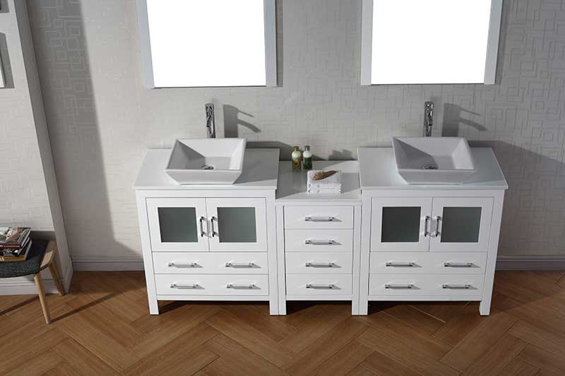 Virtu USA Dior 78 Double Bathroom Vanity Set in White 4