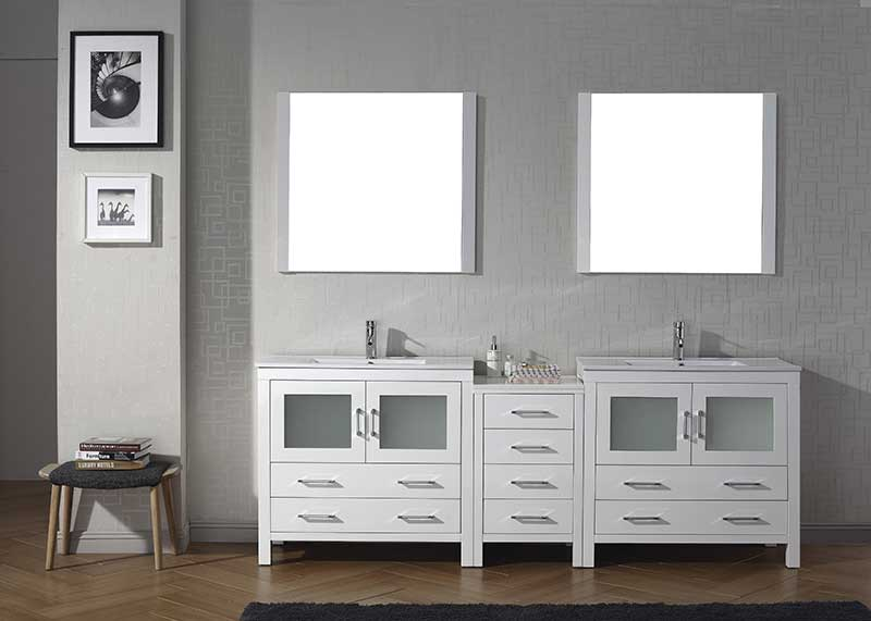 Virtu USA Dior 90 Double Bathroom Vanity Set in White