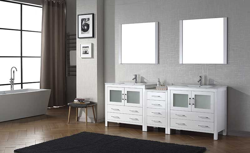 Virtu USA Dior 90 Double Bathroom Vanity Set in White 2