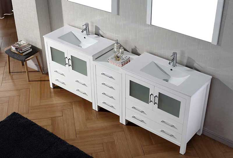 "Virtu USA Dior 90"" Double Bathroom Vanity Cabinet Set in White 3"