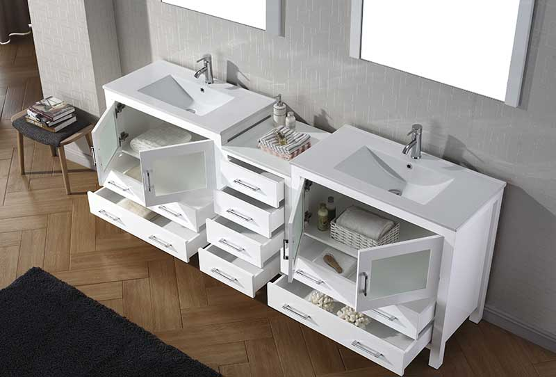 Virtu USA Dior 90 Double Bathroom Vanity Set in White 4