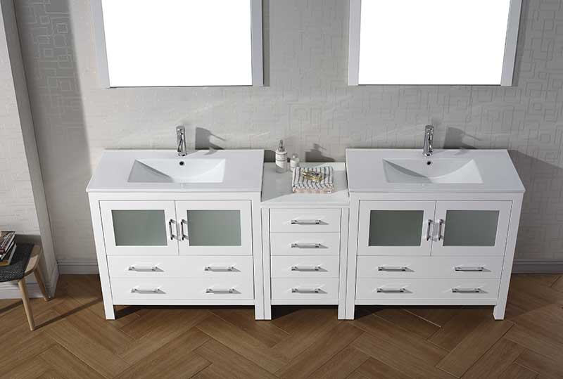 Virtu USA Dior 90 Double Bathroom Vanity Set in White 5