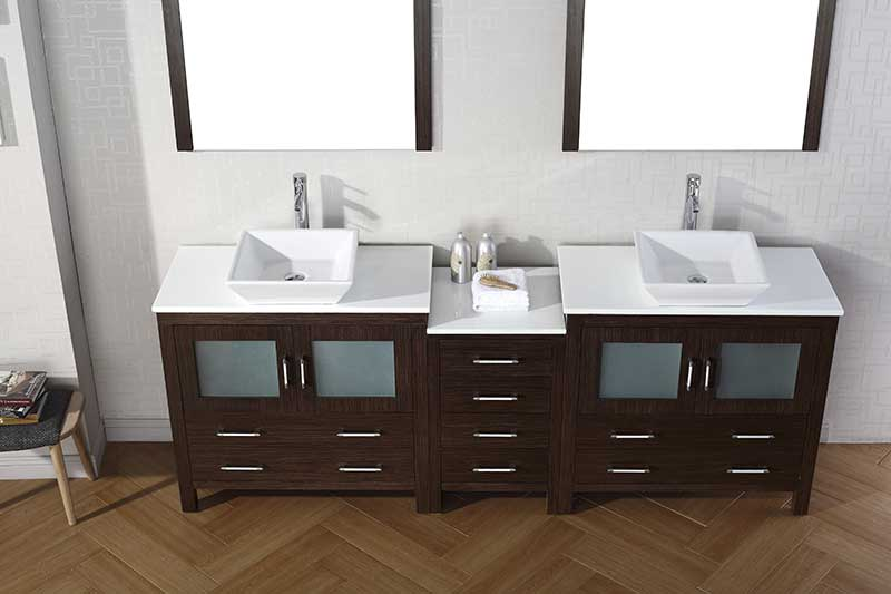 "Virtu USA Dior 90"" Double Bathroom Vanity in Zebra Grey with Aqua Tempered Glass Top and Square Sink with Brushed Nickel Faucet and Mirrors 2"