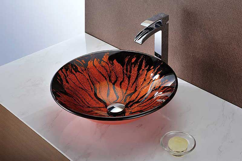 Anzzi Forte Series Deco-Glass Vessel Sink in Lustrous Red and Black 9