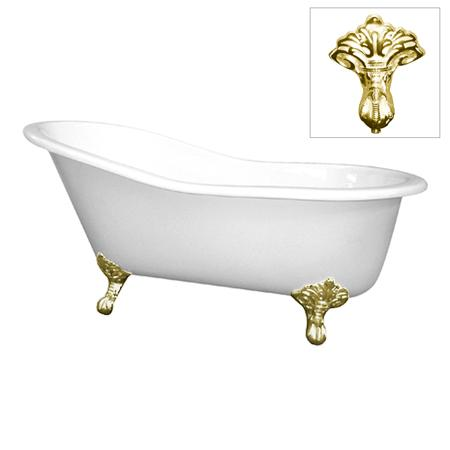Kingston Brass VCT7D653129B2 Vintage Cast Iron Bathtub With Polished Brass Legs, Polished Brass