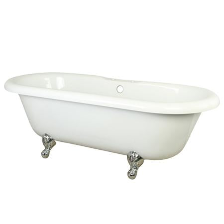 "Kingston Brass VT7DS673023H1 Vintage Acrylic Tub 67"" X 30"" X 23"" Harrisburg Feet, with 7"" Hole, White and Chrome"