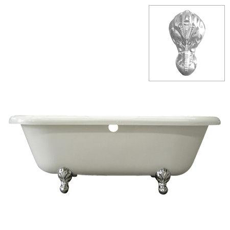 Kingston Brass VTDS673023H1 Vintage Acrylic Tub with Chrome Constantine Lion Feet, White