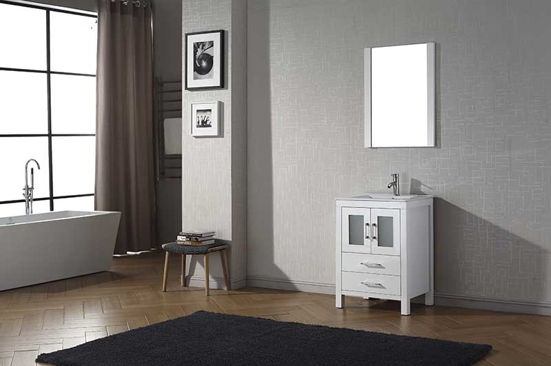 Virtu USA Dior 24 Single Bathroom Vanity Set in White 2