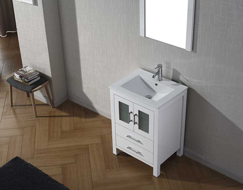 Virtu USA Dior 24 Single Bathroom Vanity Set in White 3