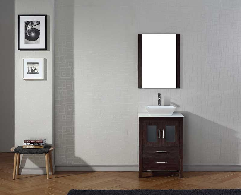 Virtu USA Dior 24 Single Bathroom Vanity Set in Espresso