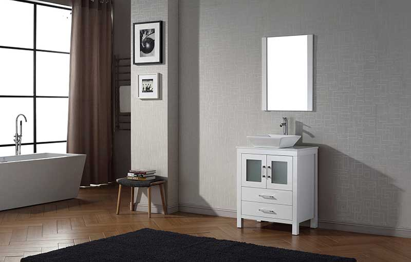 Virtu USA Dior 28 Single Bathroom Vanity Set in White 2
