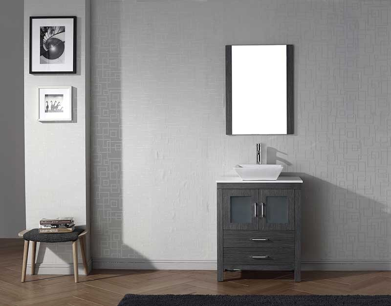 Virtu USA Dior 28 Single Bathroom Vanity Set in Zebra Grey