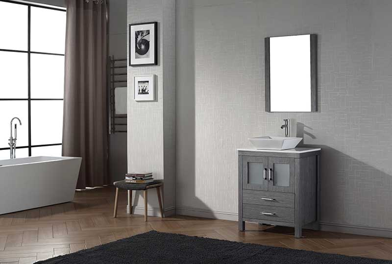 Virtu USA Dior 28 Single Bathroom Vanity Set in Zebra Grey 2