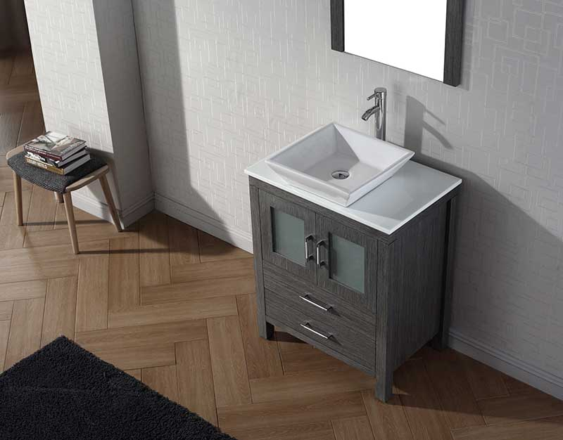 Virtu USA Dior 28 Single Bathroom Vanity Set in Zebra Grey 3