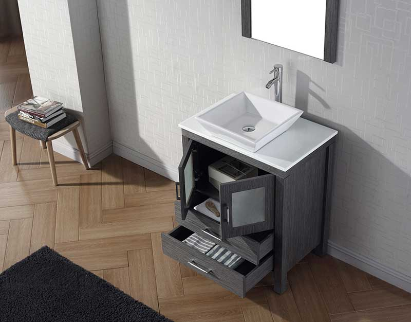 Virtu USA Dior 28 Single Bathroom Vanity Set in Zebra Grey 4