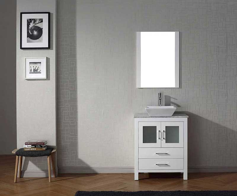 "Virtu USA Dior 28"" Single Bathroom Vanity Cabinet Set in White"