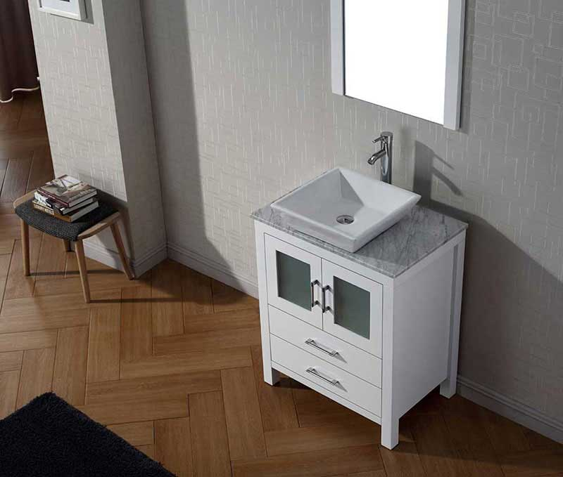 "Virtu USA Dior 28"" Single Bathroom Vanity Cabinet Set in White 3"