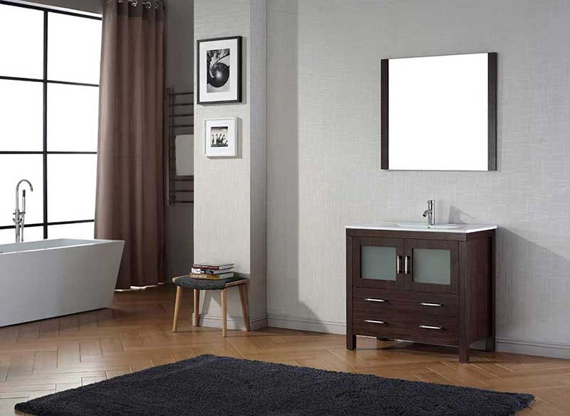 "Virtu USA Dior 36"" Single Bathroom Vanity Cabinet Set in Espresso 2"
