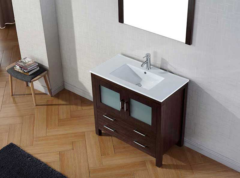 "Virtu USA Dior 36"" Single Bathroom Vanity Cabinet Set in Espresso 3"