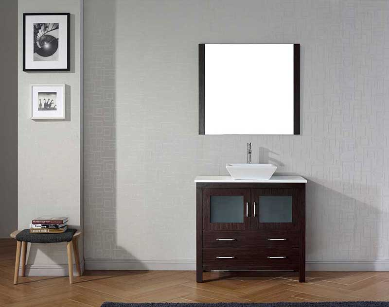 "Virtu USA Dior 36"" Single Bathroom Vanity Cabinet Set in Espresso"