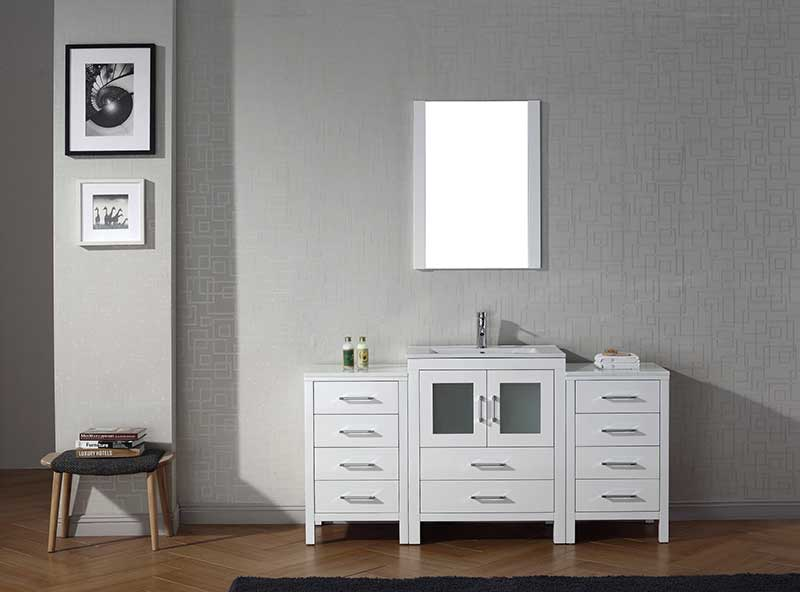 Virtu USA Dior 64 Single Bathroom Vanity Set in White
