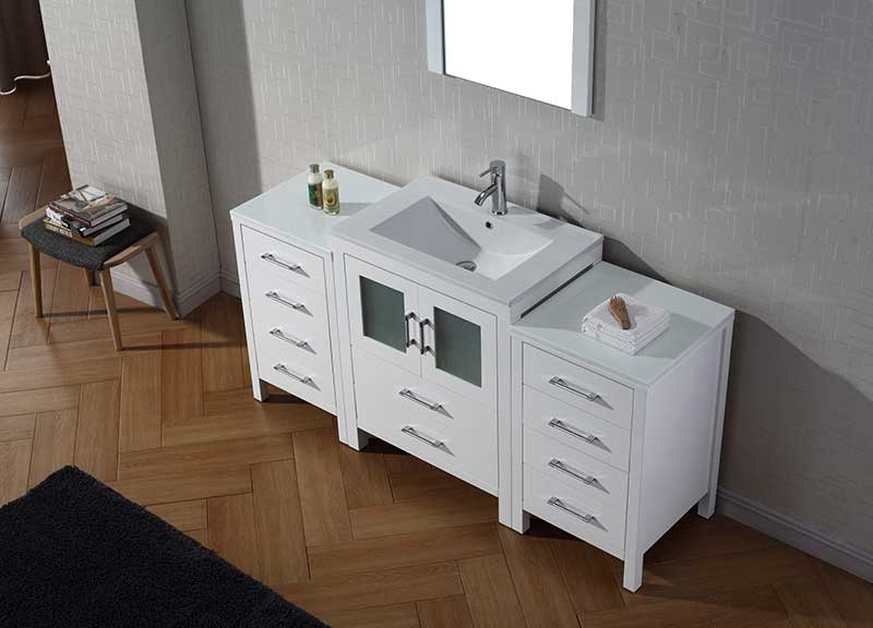 Virtu USA Dior 64 Single Bathroom Vanity Set in White 3
