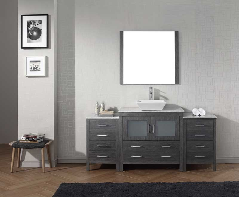 Virtu USA Dior 68 Single Bathroom Vanity Set in Zebra Grey