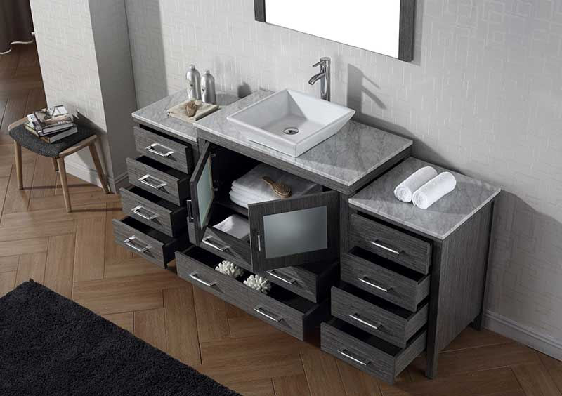 Virtu USA Dior 68 Single Bathroom Vanity Set in Zebra Grey 4