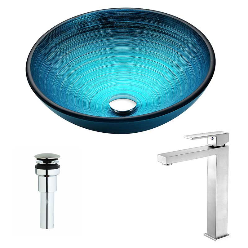 Anzzi Enti Series Deco-Glass Vessel Sink in Lustrous Blue with Enti Faucet in Brushed Nickel