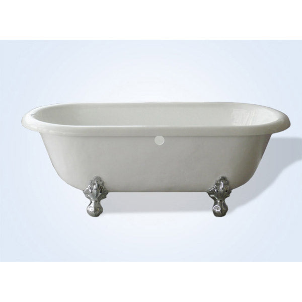 Restoria Acrylic Clawfoot Tub - 66-inch Double Ended, No Faucet Drillings - Marquis by Restoria