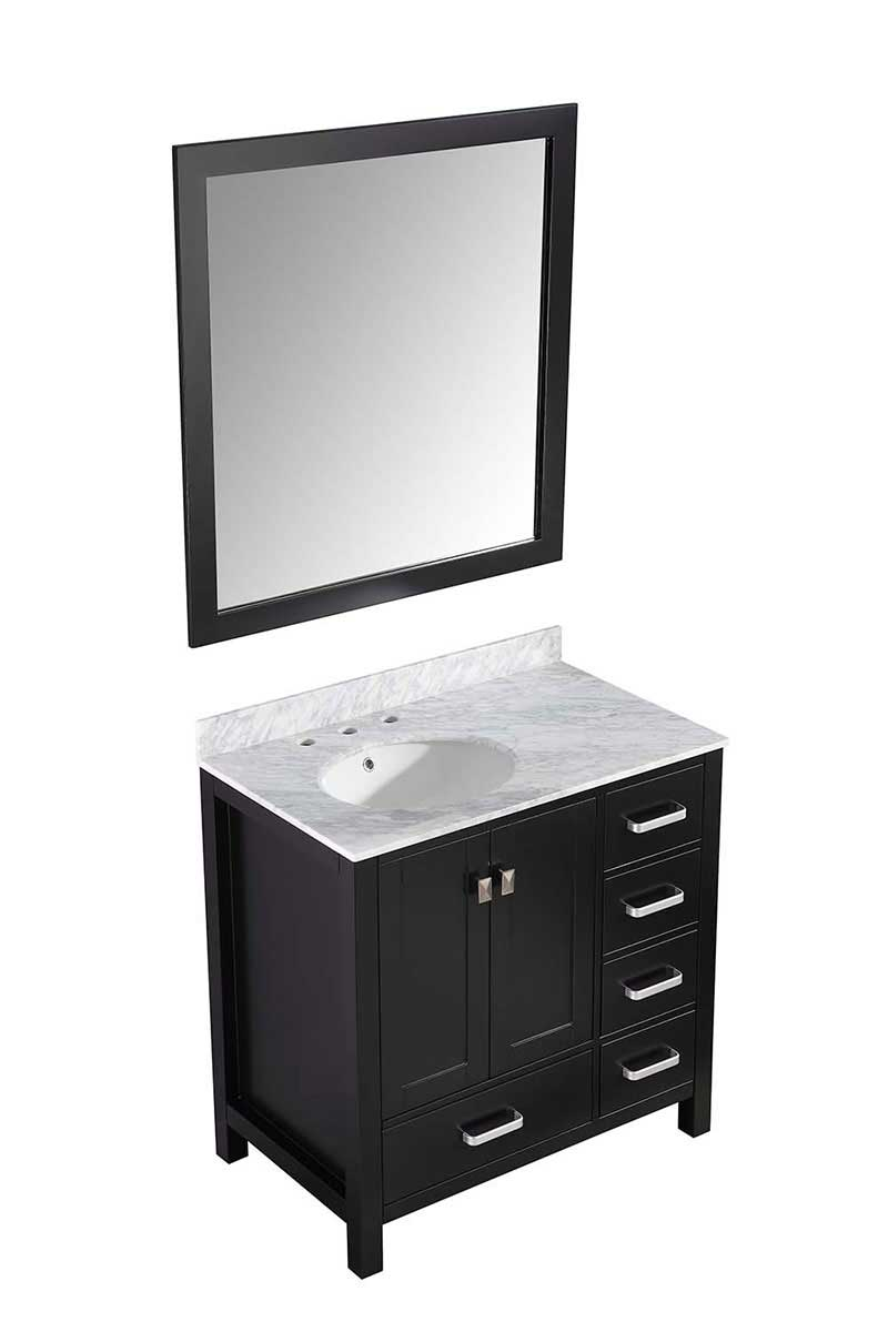 Anzzi Chateau 36 in. W x 22 in. D Vanity in Espresso with Marble Vanity Top in Carrara White with White Basin and Mirror