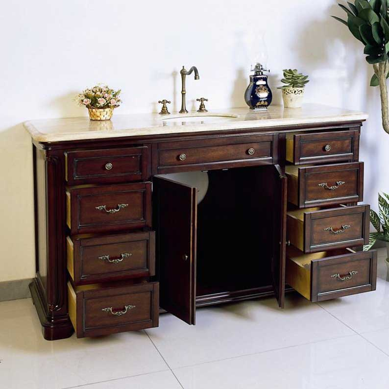 "Legion Furniture 60"" Solid Wood Sink Chest Vanity Set 2"