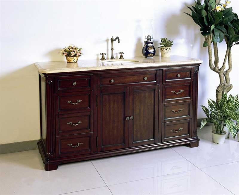 "Legion Furniture 60"" Solid Wood Sink Chest Vanity Set 5"