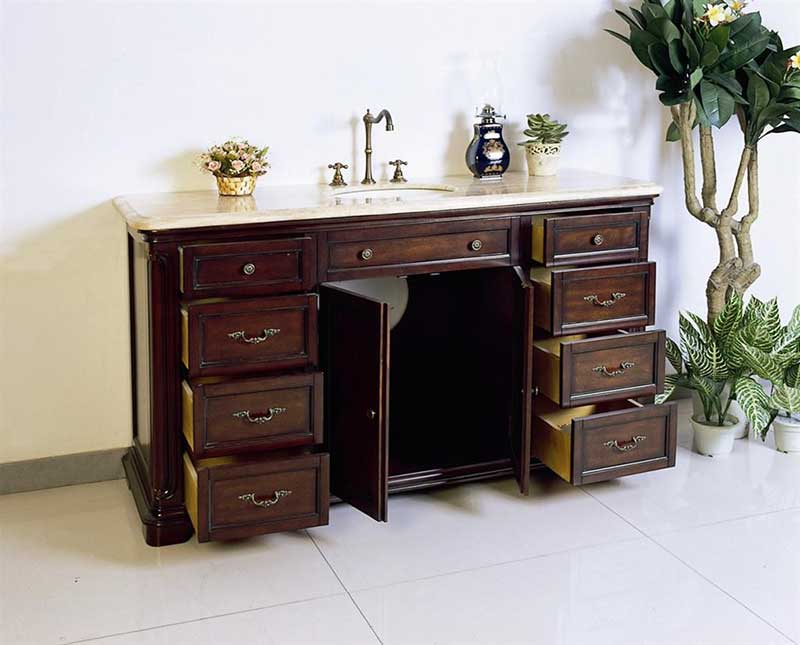 "Legion Furniture 60"" Solid Wood Sink Chest Vanity Set 6"
