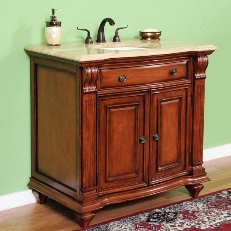 "Legion Furniture 36"" Solid Wood Single Travertine Vanity Set"