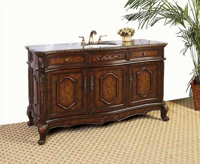 "Legion Furniture 60"" Sink Vanity - No Faucet Antique Brown"
