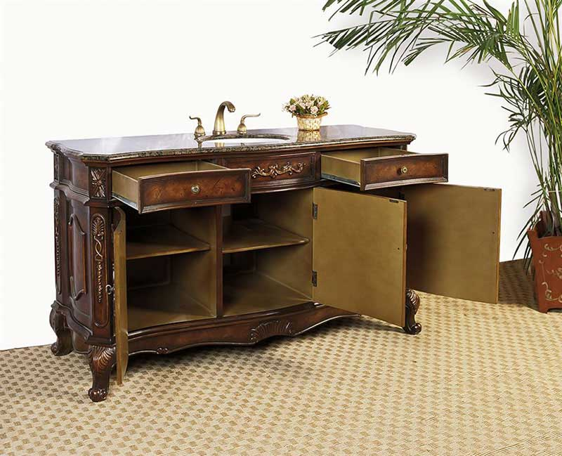 "Legion Furniture 60"" Sink Vanity - No Faucet Antique Brown 2"