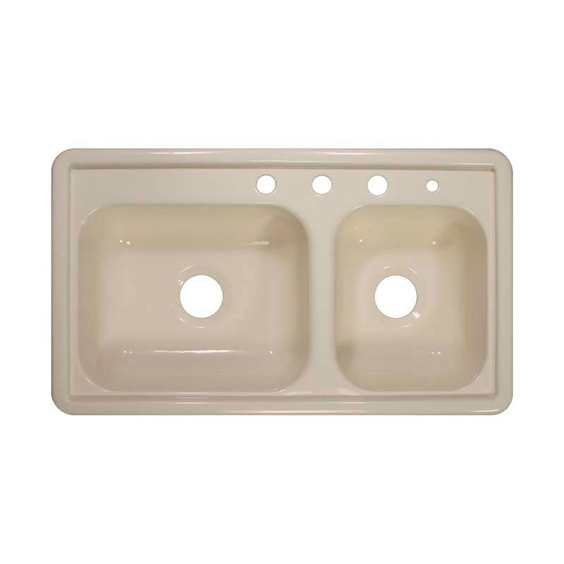 "Lyons Industries DKS02R3.5 Almond 33""x19"" Manufactured/Mobile Home Acrylic 7"" Deep Kitchen Sink, Four Hole"
