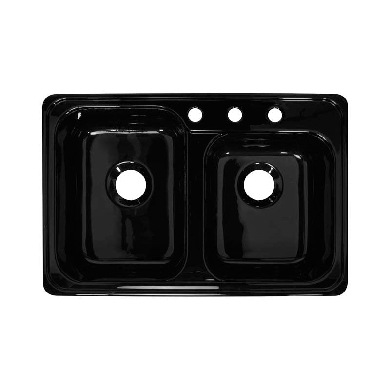 "Lyons Industries DKS22Z-TB Black Gourmet Choice Canadian 31"" X 20.5"" Dual Offset Bowl 8"" Deep Acrylic Kitchen Sink"