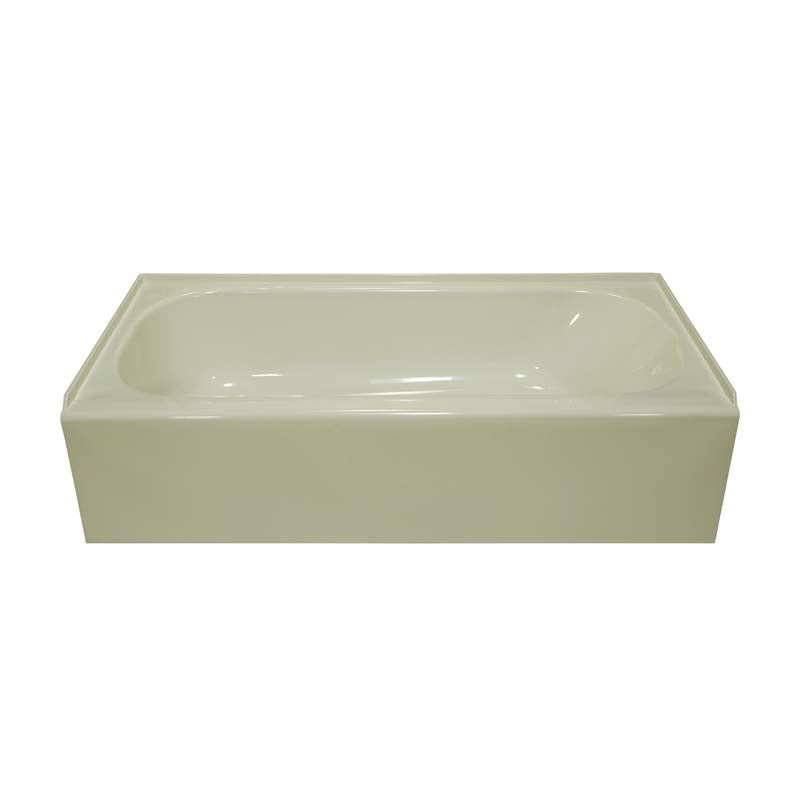 "Lyons Industries VTL09542716L Biscuit Acrylic 54"" Wide Apron Front Bath Tub with Left Hand Drain"