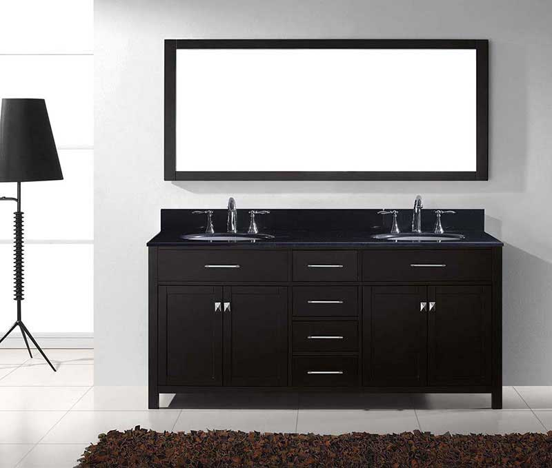"Virtu USA Caroline 72"" Double Bathroom Vanity in Espresso with Black Galaxy Granite Top and Round Sink with Mirror 3"