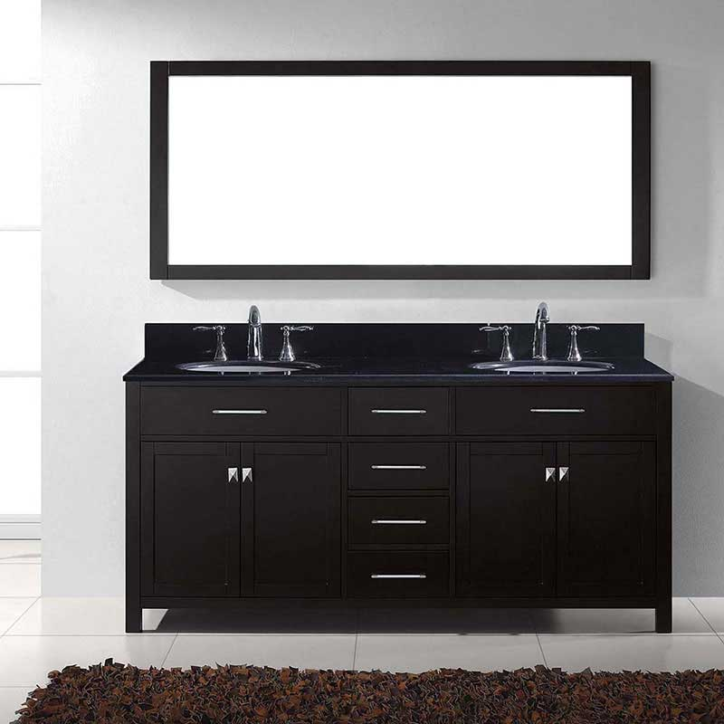 "Virtu USA Caroline 72"" Double Bathroom Vanity in Espresso with Black Galaxy Granite Top and Round Sink with Mirror 2"