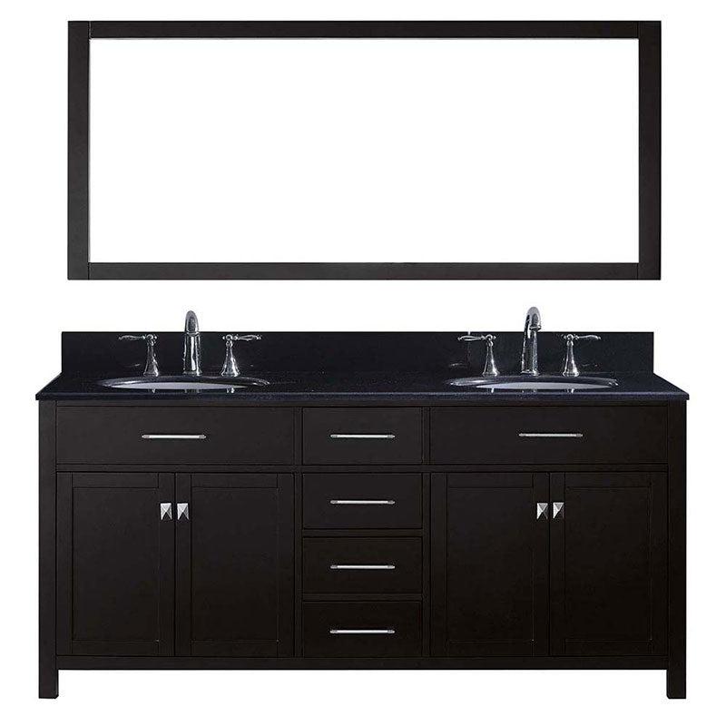 "Virtu USA Caroline 72"" Double Bathroom Vanity in Espresso with Black Galaxy Granite Top and Round Sink with Mirror"