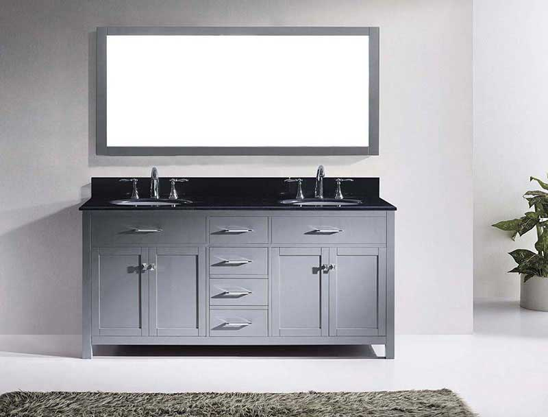 "Virtu USA Caroline 72"" Double Bathroom Vanity in Grey with Black Galaxy Granite Top and Round Sink with Brushed Nickel Faucet and Mirror 3"