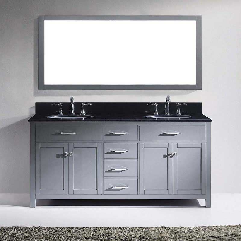"Virtu USA Caroline 72"" Double Bathroom Vanity in Grey with Black Galaxy Granite Top and Round Sink with Brushed Nickel Faucet and Mirror 2"
