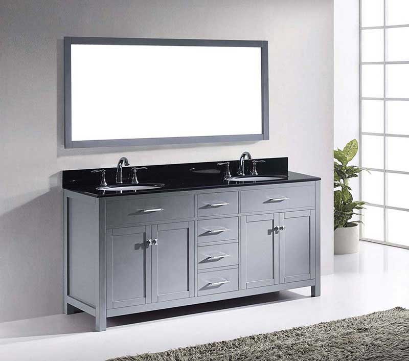 "Virtu USA Caroline 72"" Double Bathroom Vanity in Grey with Black Galaxy Granite Top and Round Sink with Brushed Nickel Faucet and Mirror 4"