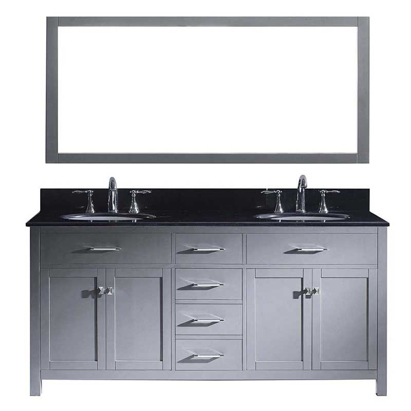 "Virtu USA Caroline 72"" Double Bathroom Vanity in Grey with Black Galaxy Granite Top and Round Sink with Polished Chrome Faucet and Mirror"